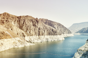 The once mighty Colorado River shows decline at Hoover Dam.