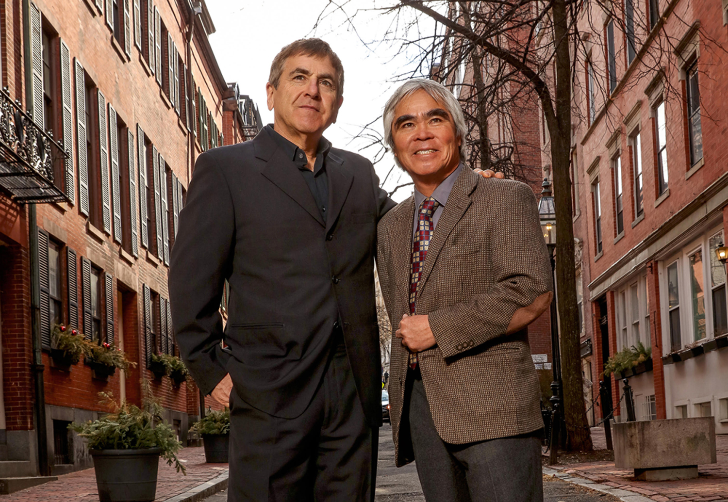 Photographers Nick Ut and Mark Edward Harris visiting Suffolk University.